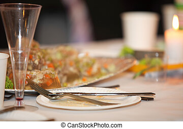 tavola, con, cibo bibita, evento, festa