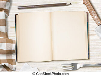tavola, cottura, libro, vuoto, matita, ricetta, o, cucina, ...