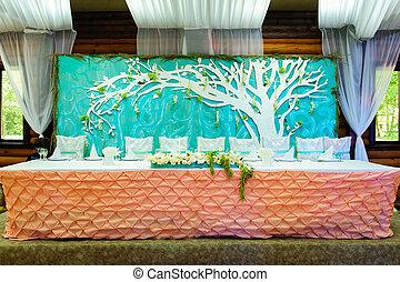 tavola, decorato, newlywe, matrimonio