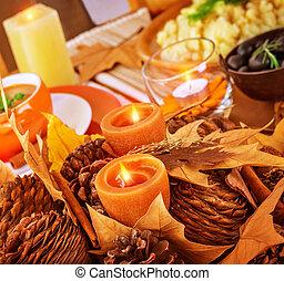 tavola, decorazione, ringraziamento, giorno