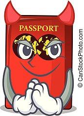 tavola, diavolo, rosso, passaporto, mascotte