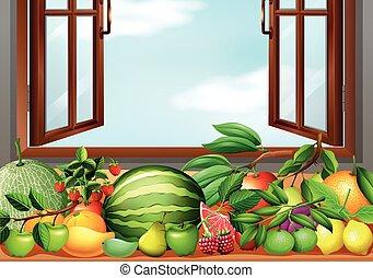 tavola, differente, tipi, frutte