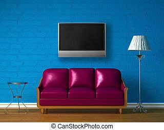 tavola, divano, standard, viola, lampada, tv, lcd