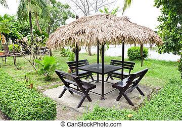 tavola, e, sedia, in, giardino