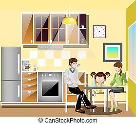 tavola, famiglia, kitchen.