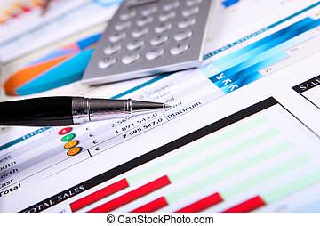 tavola, finanziario, carte