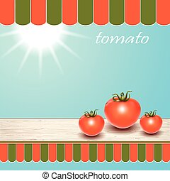 tavola, finestra., pomodori, rosso, fresco