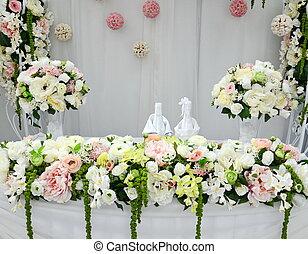 tavola, fiori, matrimonio