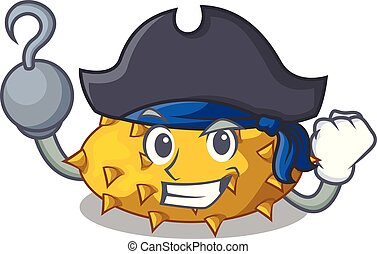 tavola, frutte, cartone animato, pirata, kiwano