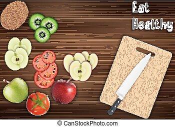 tavola, frutte, fresco, fette