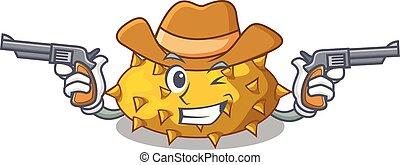 tavola, frutte, kiwano, cartone animato, cowboy