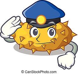 tavola, frutte, polizia, cartone animato, kiwano