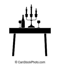 tavola, icona, cenando, immagine