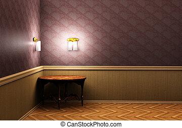 tavola, in, il, stanza, 3d