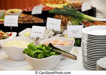 tavola, insalate, buffet, piatti