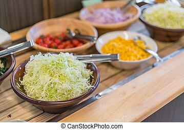 tavola, insalate, buffet, ristorante