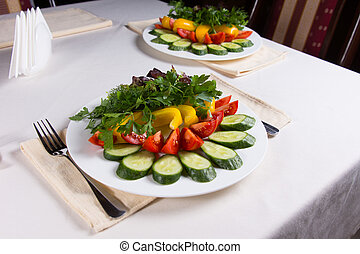 tavola, insalate, colorito, ristorante