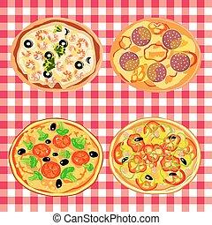 tavola, italiano, set, pizza