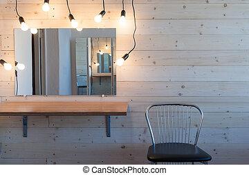 tavola, lampada, trucco