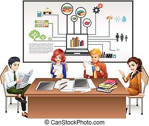 tavola, lavorativo, persone affari