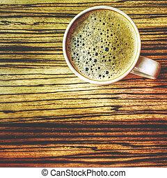 tavola legno, caffè, vista superiore