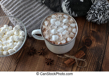 tavola legno, caldo, marshmallow, cioccolato