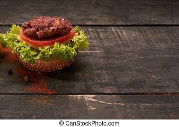 tavola legno, hamburger