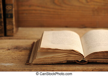 tavola legno, libro, vecchio, aperto