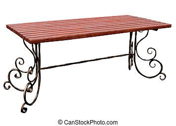 tavola legno, metallo, torto, legs.
