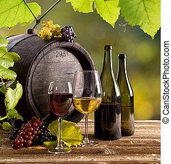 tavola legno, occhiali, bottiglia, vino