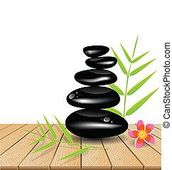 tavola legno, pietra, caldo, massaggio