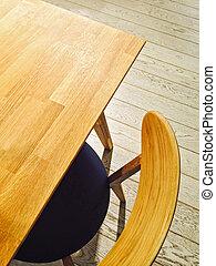 tavola legno, sedia, elegante