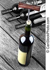 tavola legno, stare in piedi, bottiglia, vino