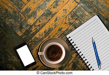 tavola legno, tazza caffè
