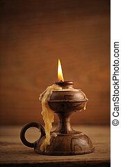 tavola legno, vecchio, candela