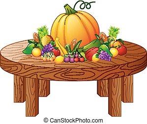 tavola legno, verdura, rotondo, frutte