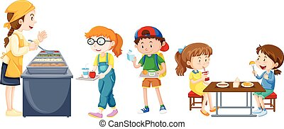 tavola, mangiare, bambini, mensa