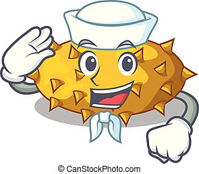 tavola, marinaio, frutte, cartone animato, kiwano