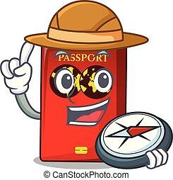 tavola, mascotte, esploratore, passaporto, rosso