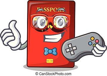 tavola, mascotte, gamer, passaporto, rosso