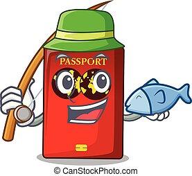 tavola, mascotte, pesca, passaporto, rosso