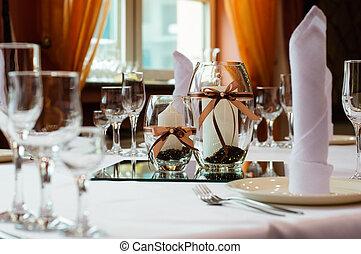 tavola mette, matrimonio, cena