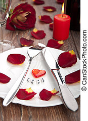 tavola mette, per, giorno valentine, con, petali