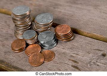 tavola, monete, picnic