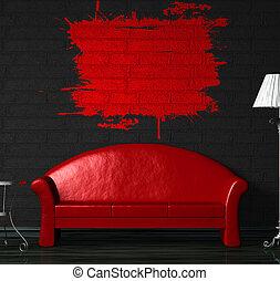 tavola, nero, interno, standard, divano, lampada, rosso, minimalista