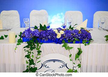 tavola, newlywe, decorato, matrimonio
