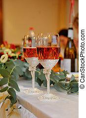 tavola, occhiali, champagne, celebratory