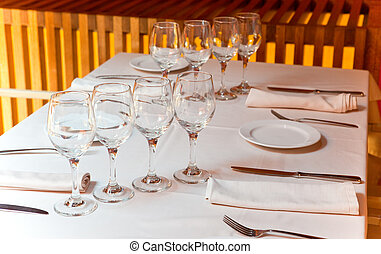 tavola, occhiali, ristorante