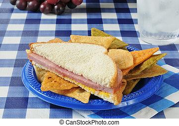 tavola, panino, picnic, prosciutto