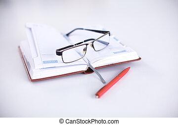 tavola, penna, aperto, blocco note, occhiali